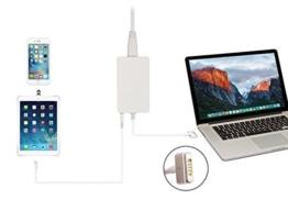 FIBAtec | 60W Slim Ersatz Ladegerät | Netzteil Apple Mag Safe 2, Mac Book Charger Magnetisch | ersetzt A1436 A1465 A1466 | passende Modelle z.B. MD223 MD224 MD231 MD232 MD592 MD711 MD712 MD760 | Inklusive USB 5V 1A Anschluss zum gleichzeitigen Laden -