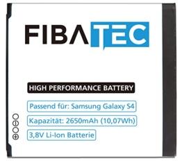FIBAtec I Ersatz POWER AKKU Samsung Galaxy S4, Android Smartphone, Lithium Ionen Akku, Zusatzbatterie, Ersatz- Akku, Energiequelle Mobiltelefon I Handy Ersatzteile, Batterie, Hochleistungsakku -