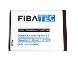 FIBAtec® I Ersatzakku POWER-AKKU Note 2 Akku, Lithium-ionen Batterie, Ersatzbatterie, Zweit-akku, Li- Ion Akkumulator I Zubehör Samsung Galaxy, Handy Ersatzteile, High Performance Battery, Accu I Samsung -