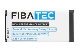 FIBAtec I Ersatzakku POWER AKKU Samsung Galaxy S5 mini, Android Smartphone, Lithium Ionen Akku, Zusatzbatterie, Ersatz- Akku, Energiequelle Mobiltelefon I Handy Ersatzteile, Batterie, Hochleistungsakku -