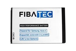 FIBAtec I Ersatzakku POWER-AKKU Samsung Note 3 Akku, Lithium-ionen Batterie, Ersatzbatterie, Zweit-akku, Li- Ion Akkumulator I Zubehör Samsung Galaxy, Handy Ersatzteile, High Performance Battery, Accu, -